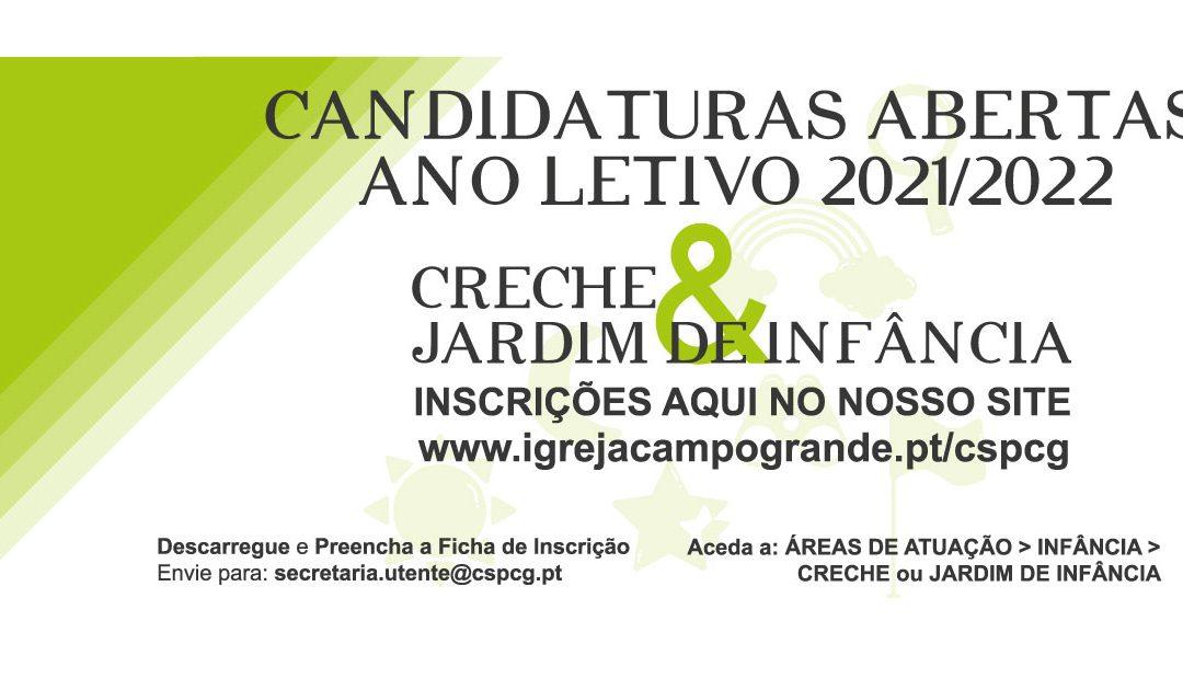 Infância – Candidaturas Abertas Ano letivo 2021/2022